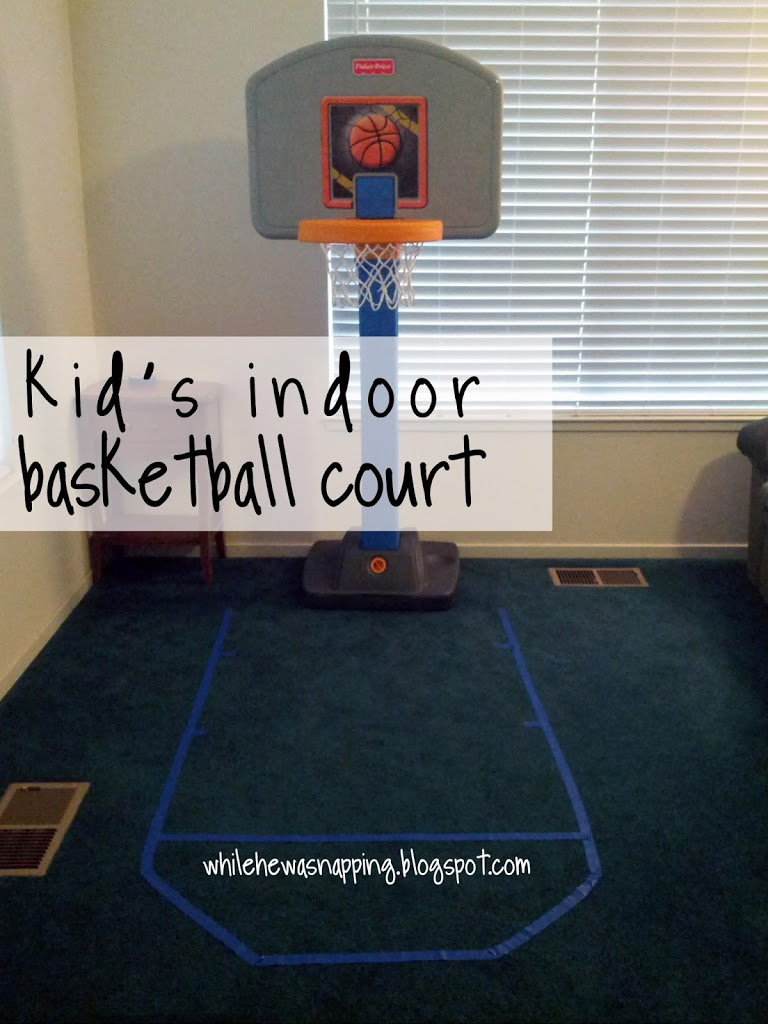 Indoor basketball while he was napping for Basketball hoop for kids room