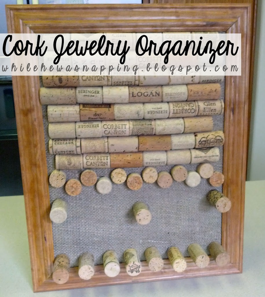 Cork Board Jewelry Organizer While He Was Napping