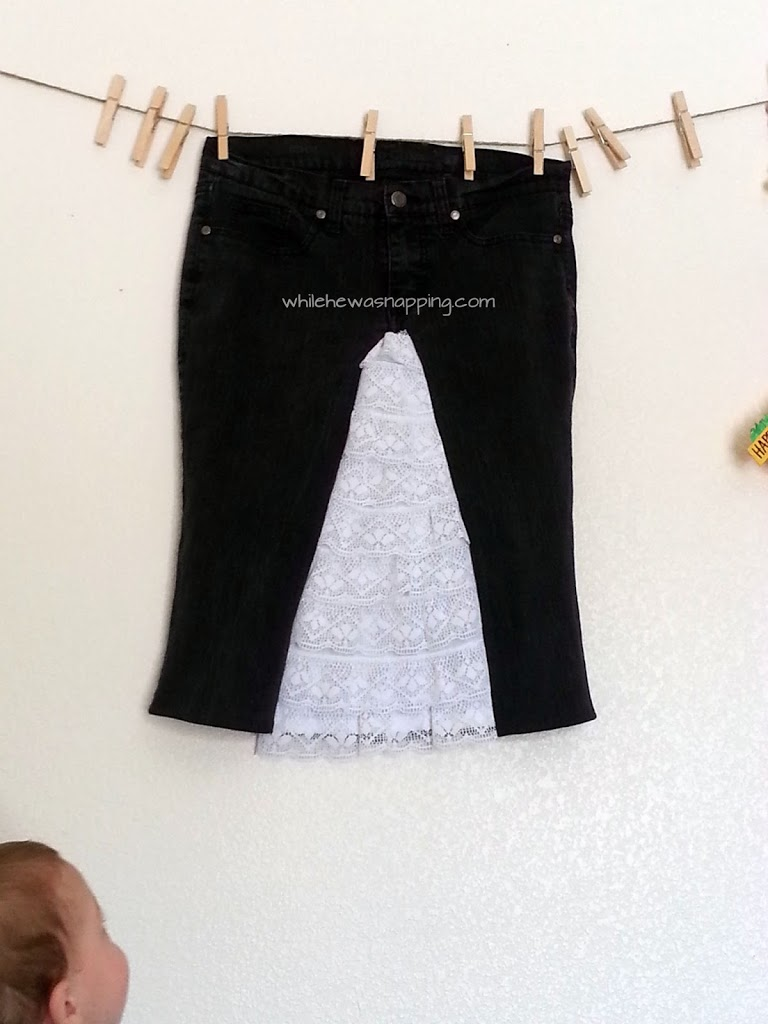 Jeans to Lace Skirt