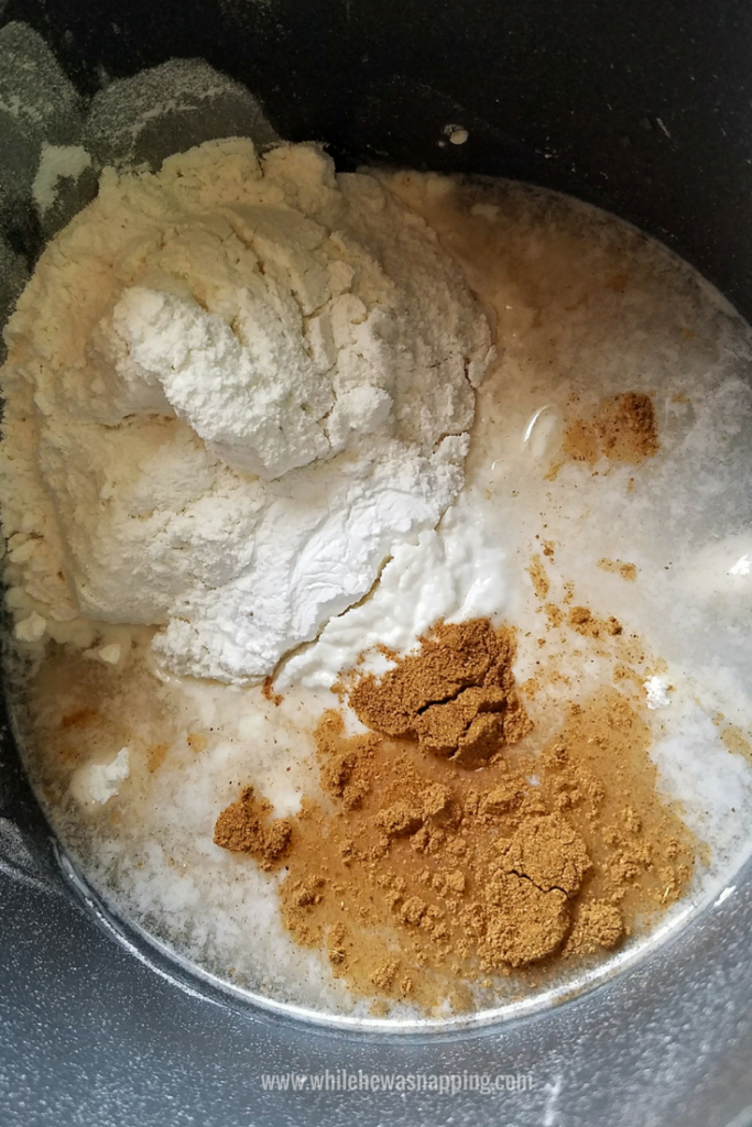 Pumpkin spice play dough ingredients in the pot