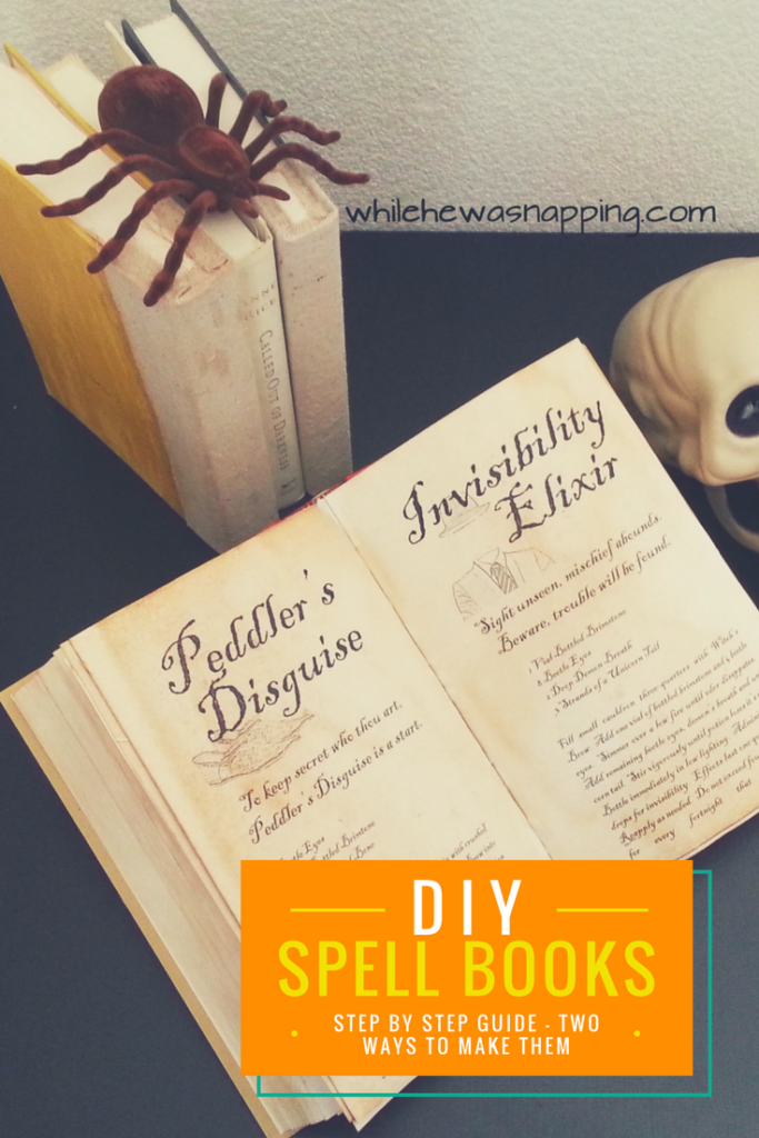 DIY Spell Books with step by step instructions and two ways to make them. The perfect finishing touch to your Halloween display.