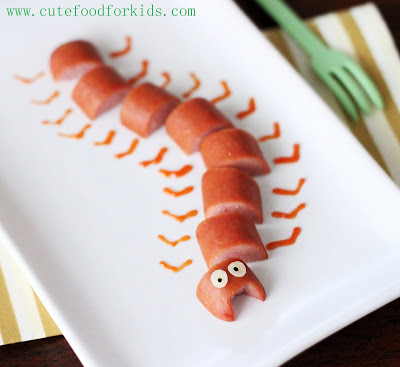Hot Dog Centipede originally found on Cute Food for Kids