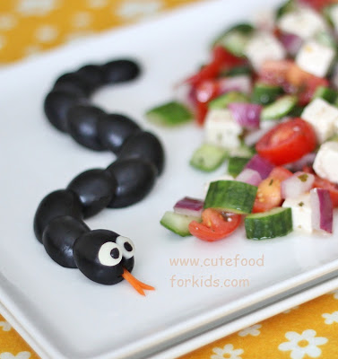 Olive Snake originally found on Cute Food for Kids