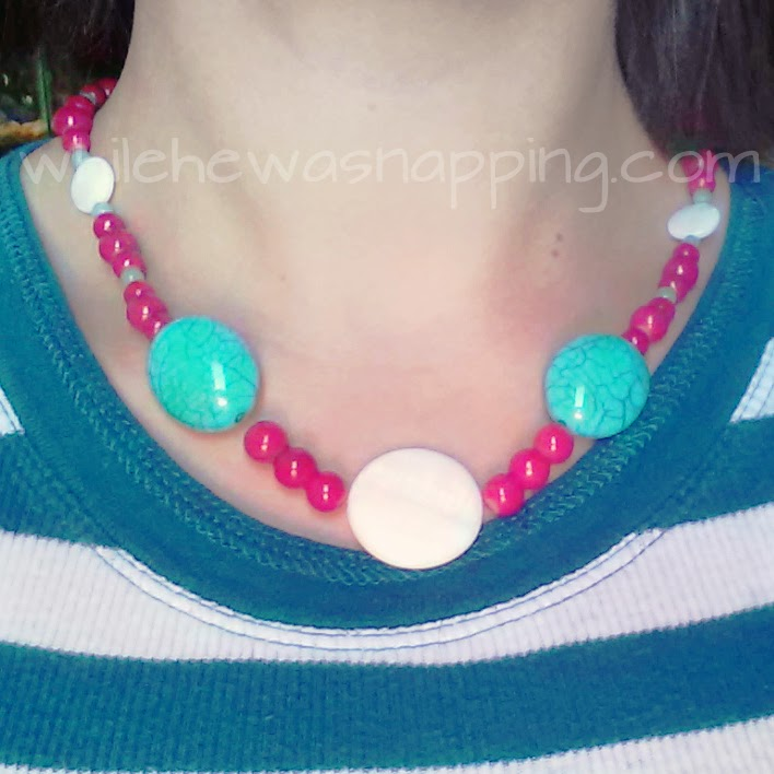 Aqua and Red DIY Necklace