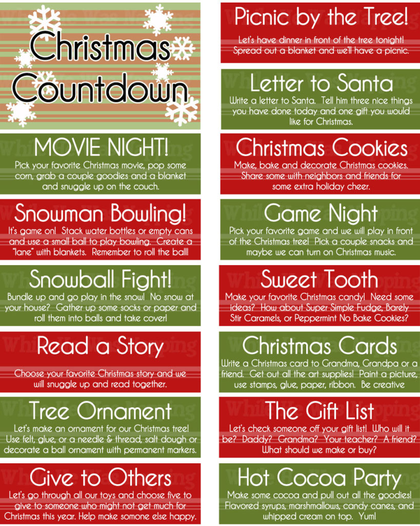 Printable Kid S Christmas Countdown Jar While He Was Napping