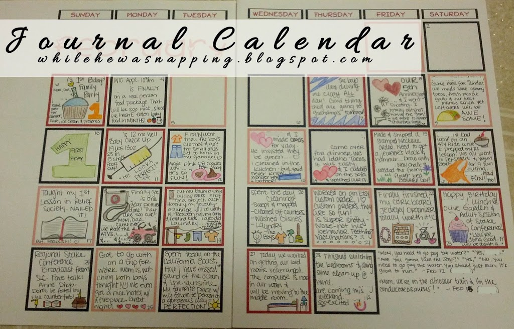 Printable Calendar Journal | While He Was Napping