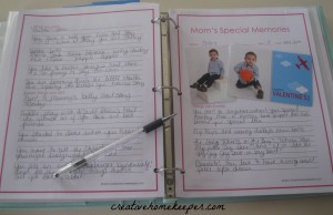 mom's special memories binder