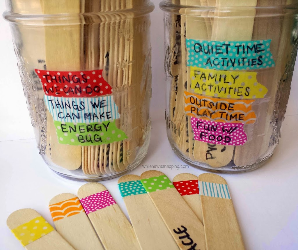 Washi tape summer boredom buster jars while he was napping for What can you do with washi tape
