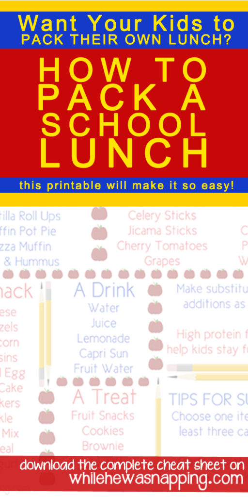 Teaser How To Pack A School Lunch Cheat Sheet Printable
