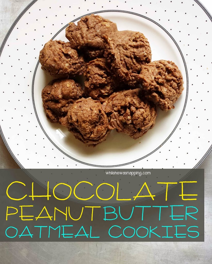 Chocolate Peanut Butter Oatmeal Cookies | While He Was Napping