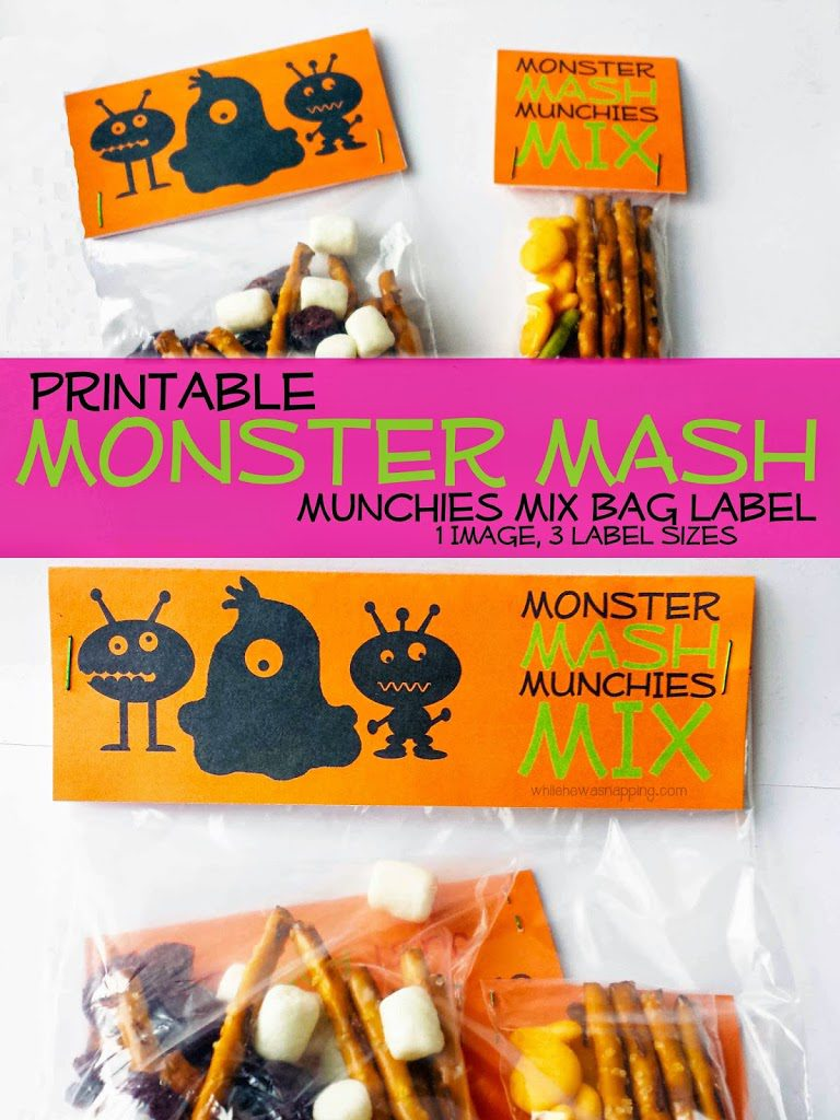 Monster Mash Snack Labels