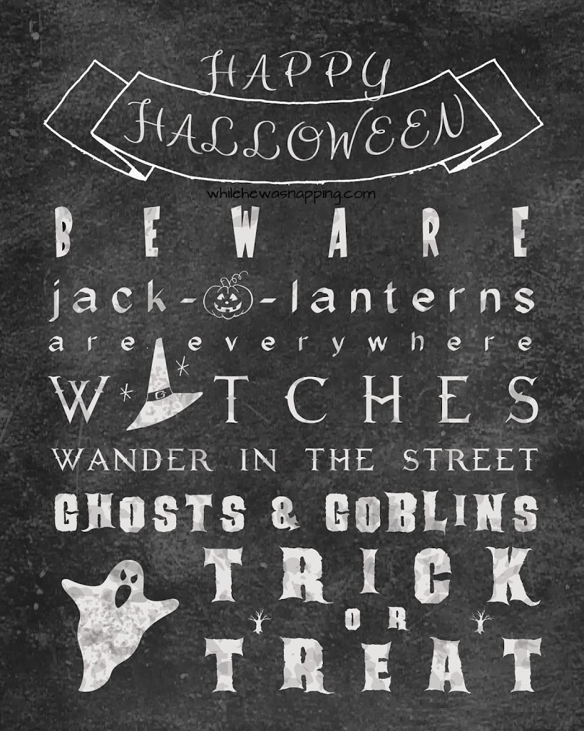Halloween Chalkboard Printable Poem