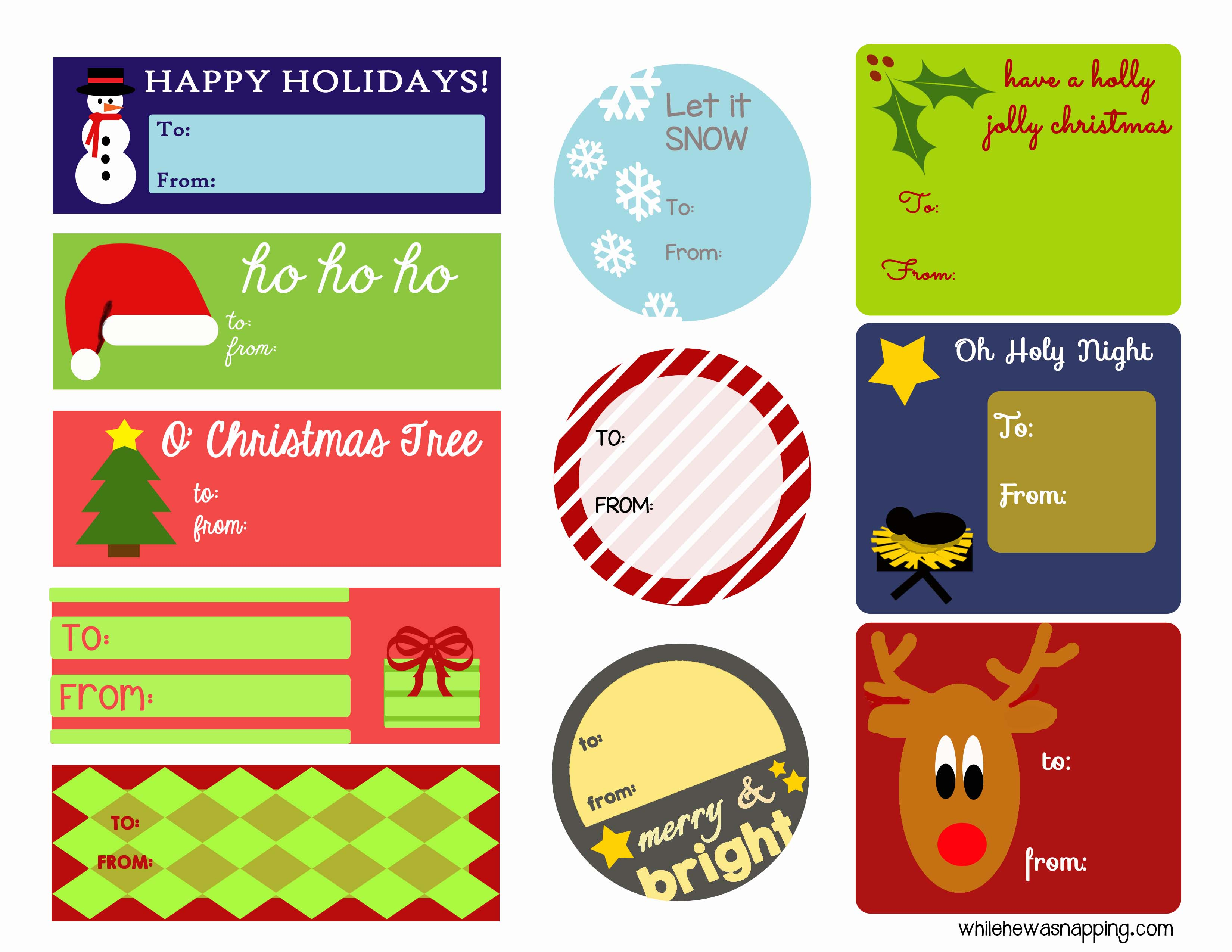 Holiday printable gift tags while he was napping christmas tags lr negle Gallery