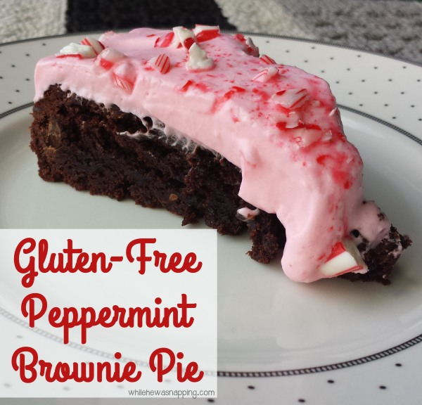 Gluten free Peppermint Brownie Pie
