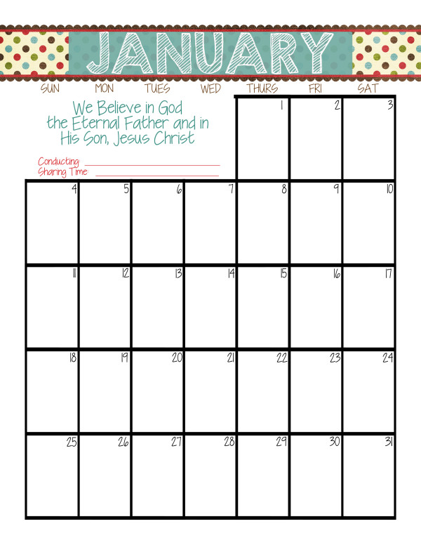 Primary Printables} LDS 2015 Primary Calendars | While He Was Napping