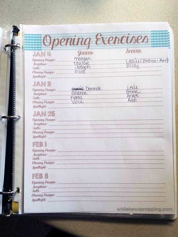Opening Exercises Organizer Binder Page