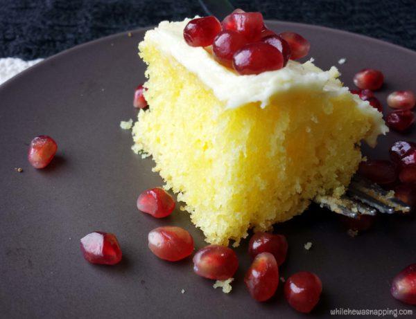 Pomegranite Lemon Cake from a box