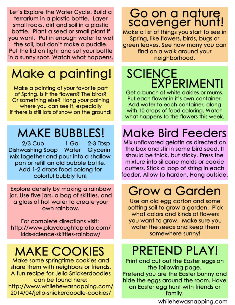 Printable Springtime Activities Boredom Buster Jar