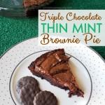 Triple Chocolate Thin Mint Brownie Pie