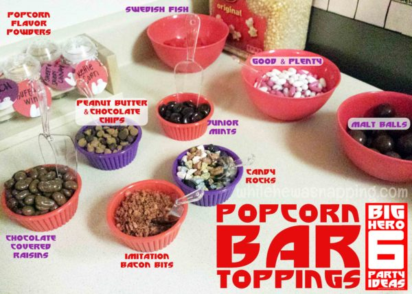 Big Hero 6 Party Popcorn Bar Toppings