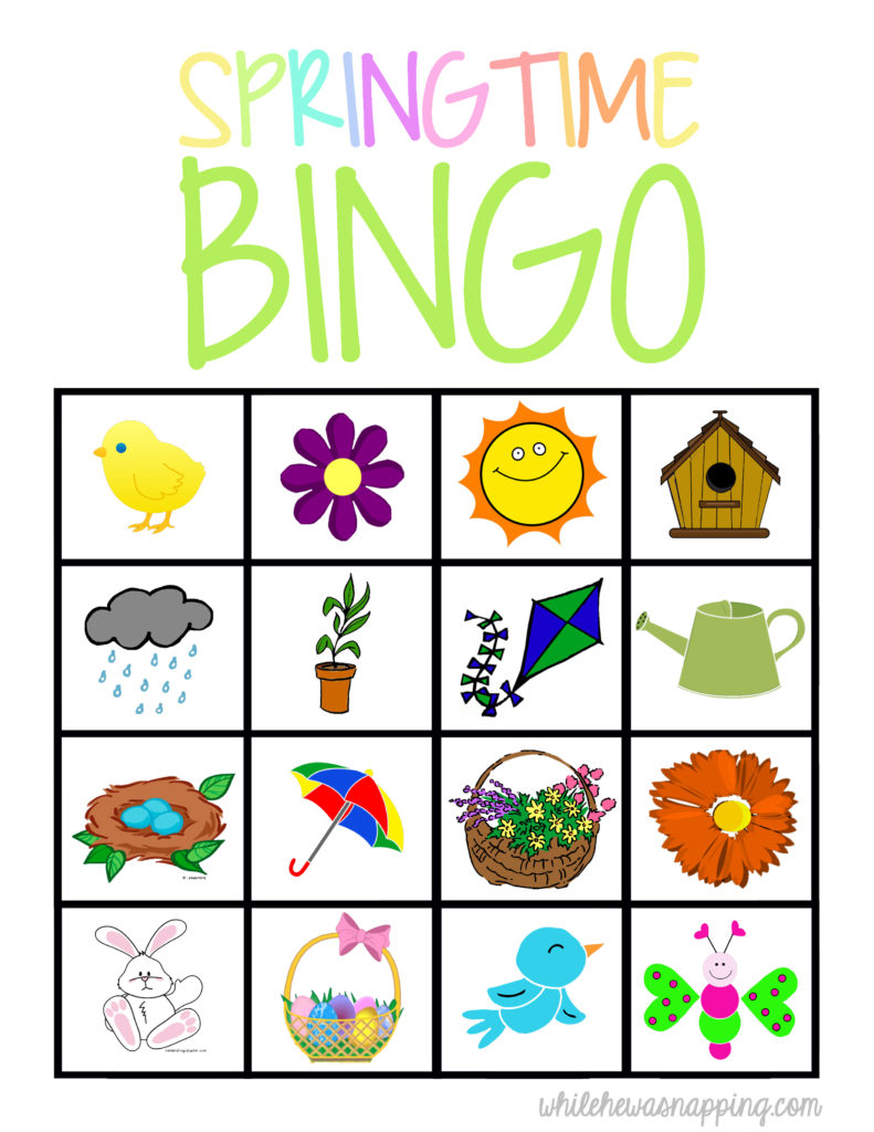 Springtime Bingo Game Printable While He Was Napping