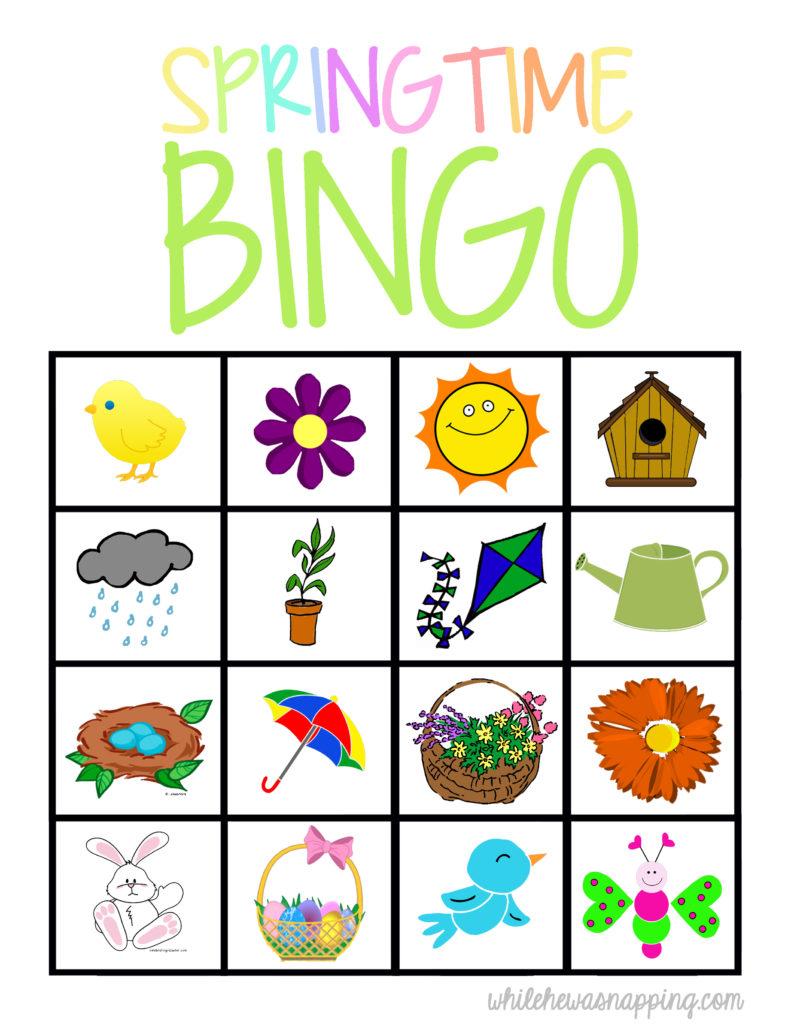Springtime Bingo Game Printable | While He Was Napping