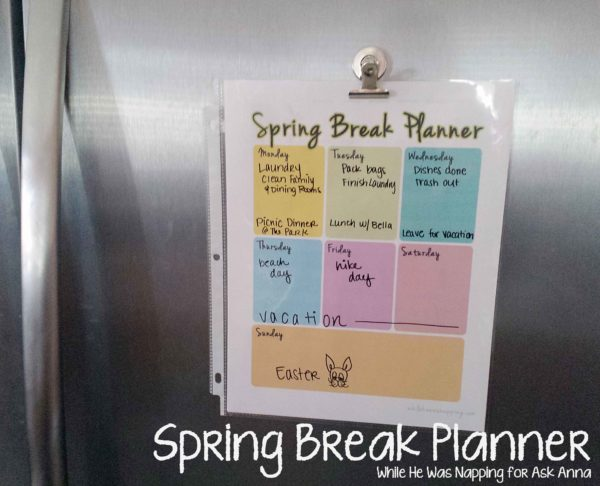 Spring Break Planner Use