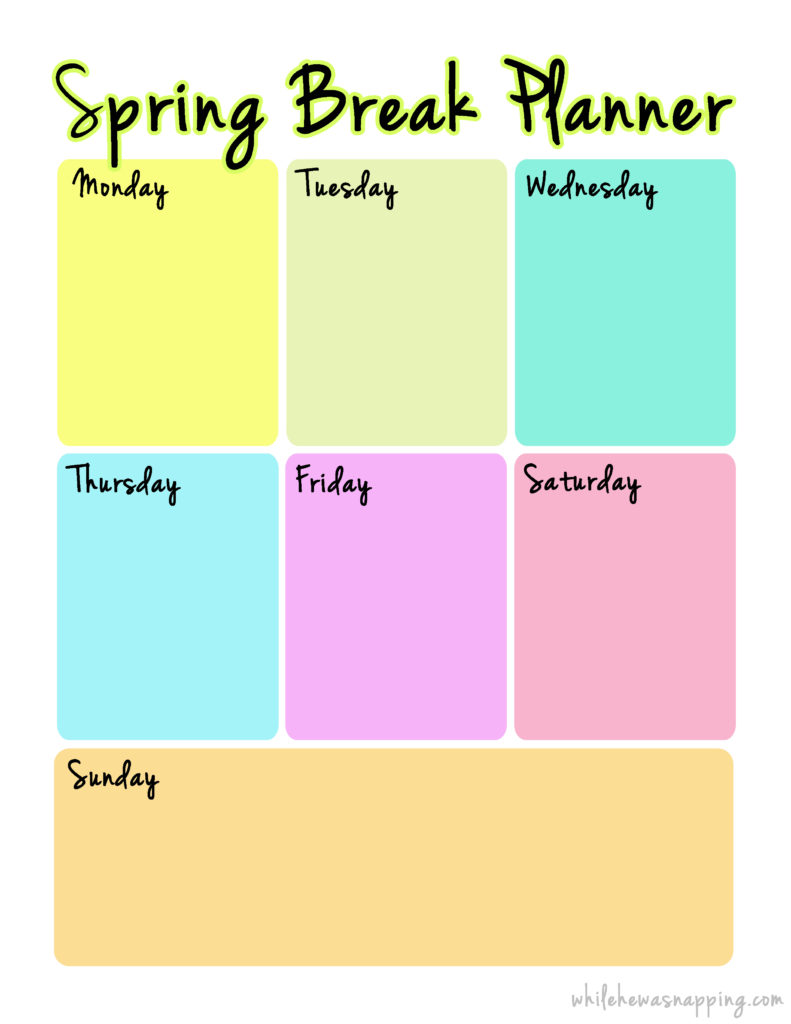 spring break planner  printable