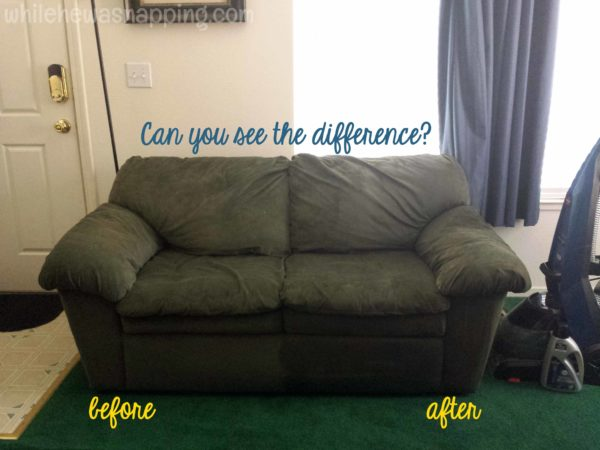 Wash Away Winter 3 Ways to Clean Your Home with a Carpet Cleaner - Dirty Upholstery before and after