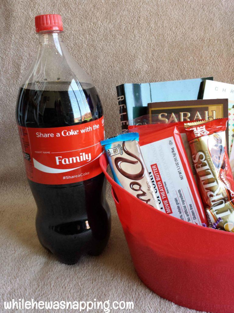 share a coke bed rest gift basket family coke
