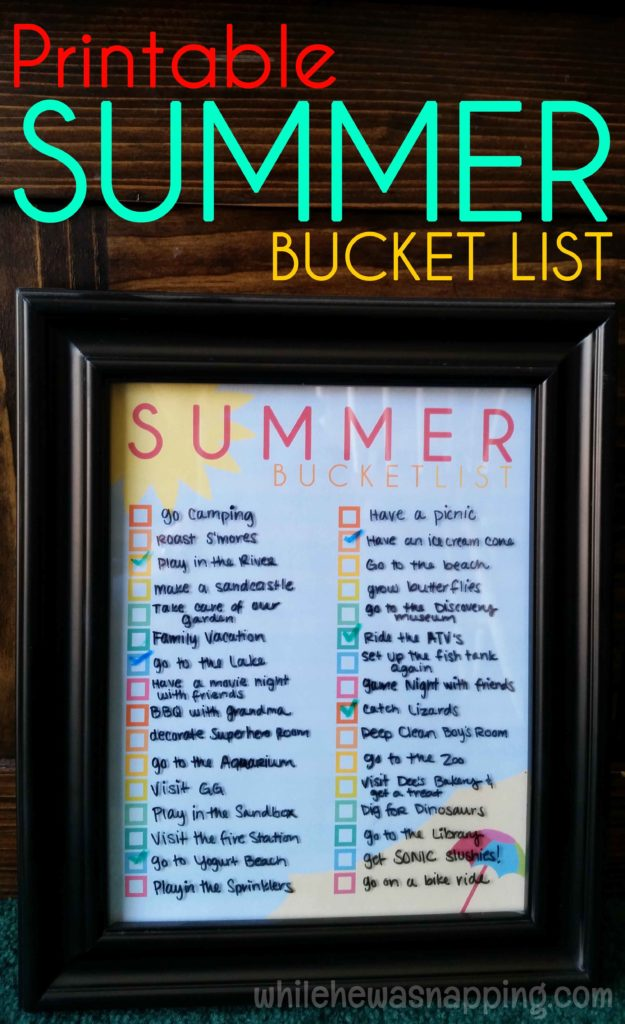 Printable Summer Bucket List for kid's activities and families