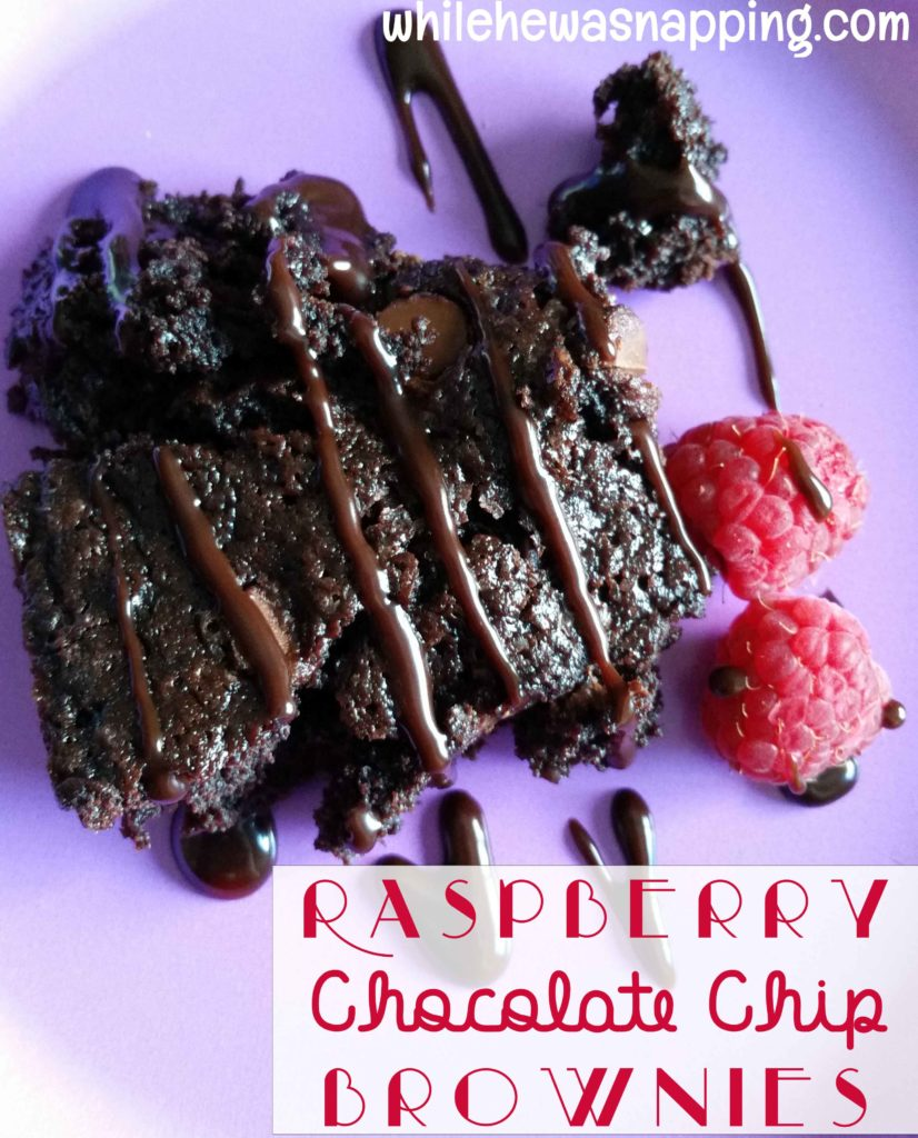 Raspberry Chocolate Chip Brownies | While He Was Napping