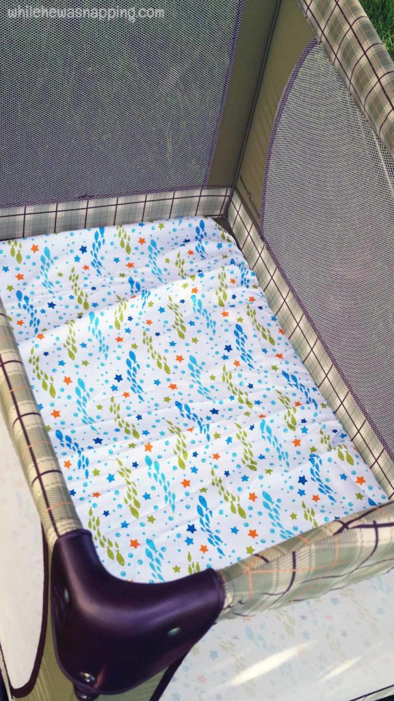 Helping Baby Sleep Better on Vacation Disney Baby Fitted Sheet in Pack&Play