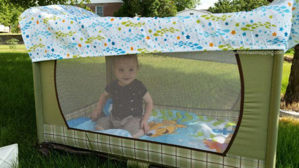 Helping Baby Sleep Better on Vacation Disney Baby Outdoor Covered Pack&Play