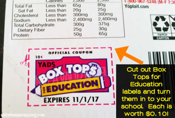 Box Tops for Education General Mills & Walmart BTFE Label