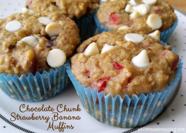 Chocolate Chunk Strawberry Banana Muffins Danimals Smoothie Muffins Closeup