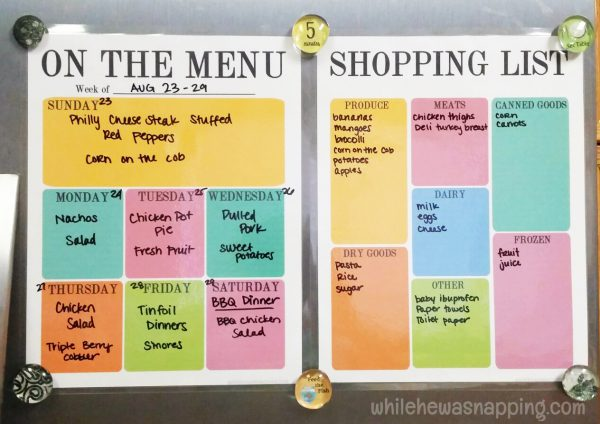 DIY Dry Erase Organizers with Scotch™ Laminating products Menu Planner