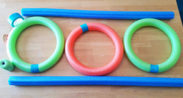 Pool Noodle DIY Toss Game - lay out noodles