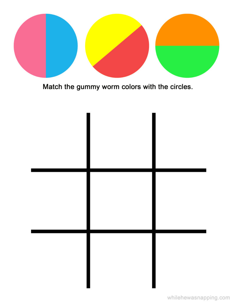 Gummy Worm Colors and Tic-Tac-Toe