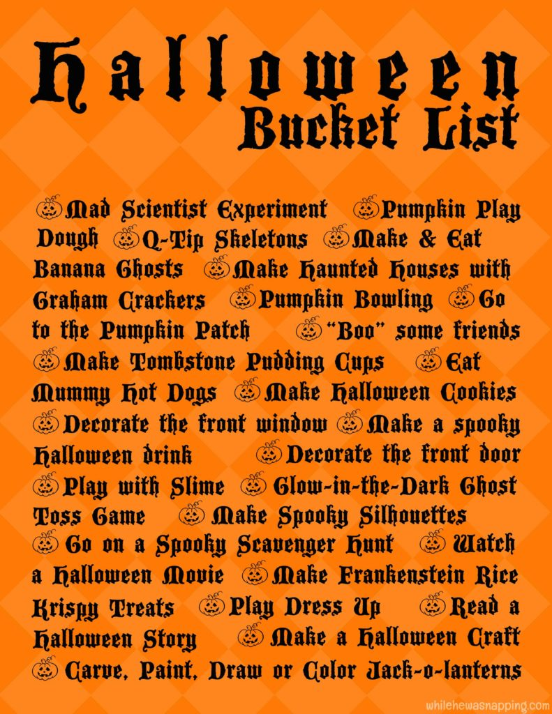 Halloween Bucket List Printable While He Was Napping