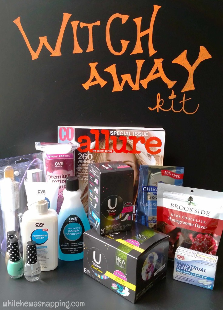 Witch Away Kit with Kotex period survival kit