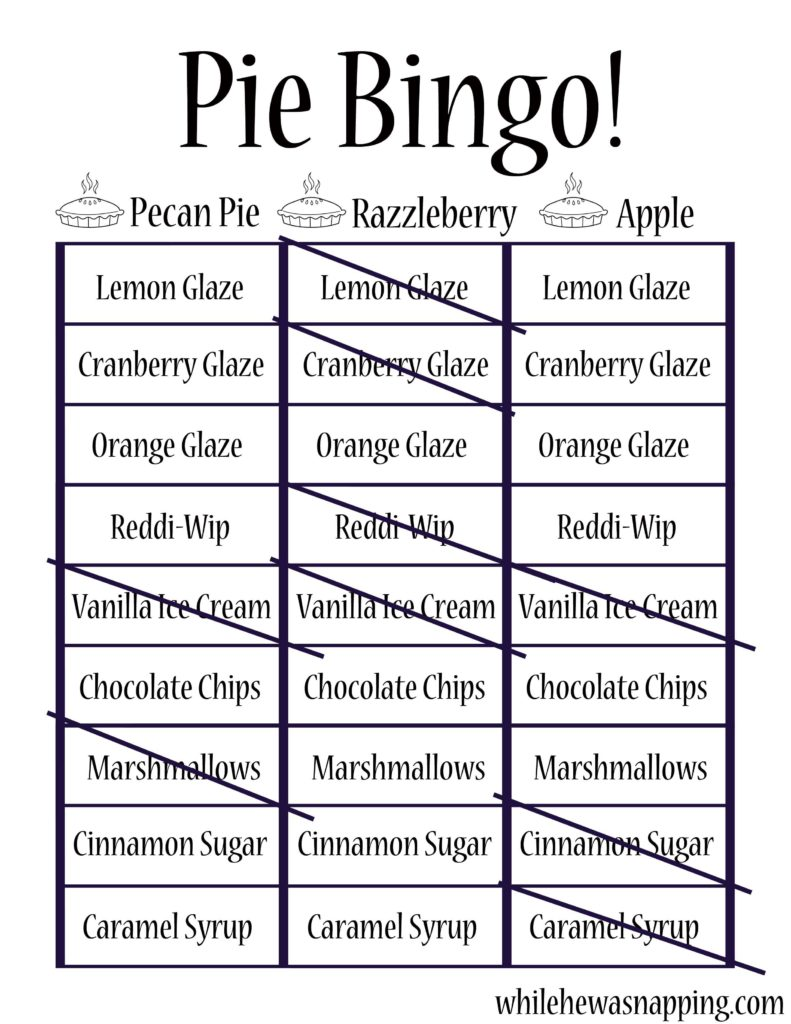Marie Callender's Pie Perfect Holiday Dessert Basic Pie Bingo Example