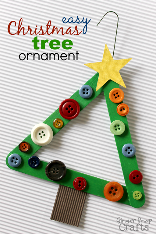 Christmas Tree Craft Stick Ornament found on Gingersnap Crafts