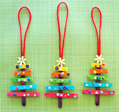 Colorful Trees Craft Stick Ornament found on Trisha Brink Design