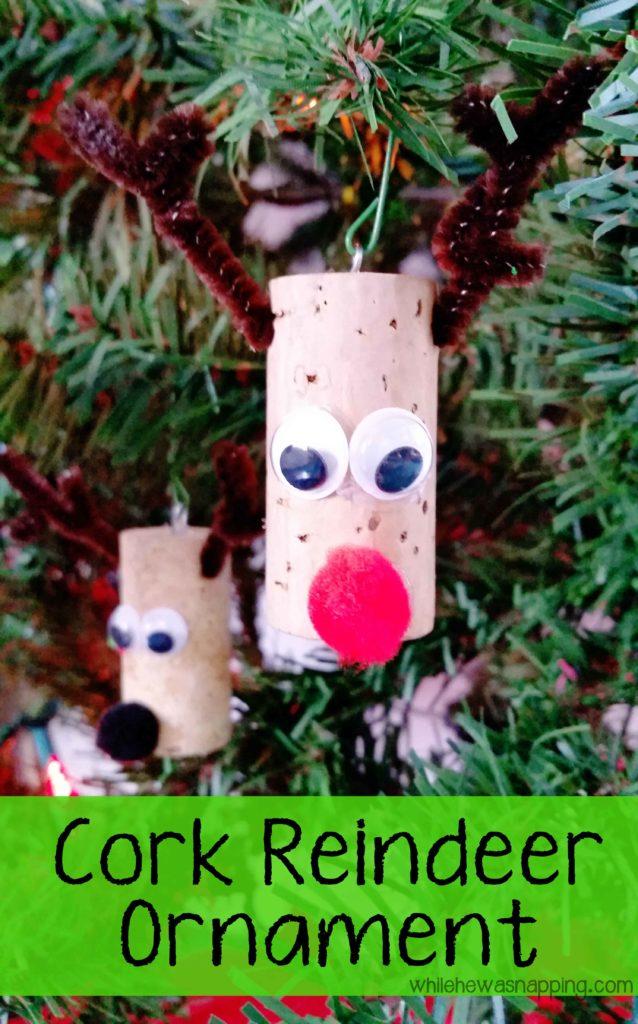 Cork Reindeer Ornament Rudolph Ornament