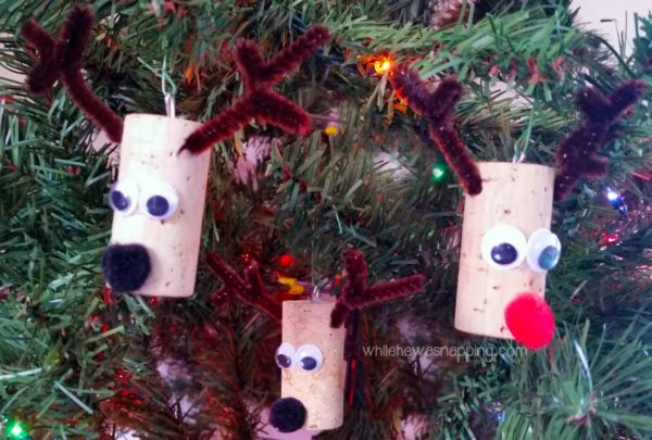 Cork Reindeer Ornament Trio
