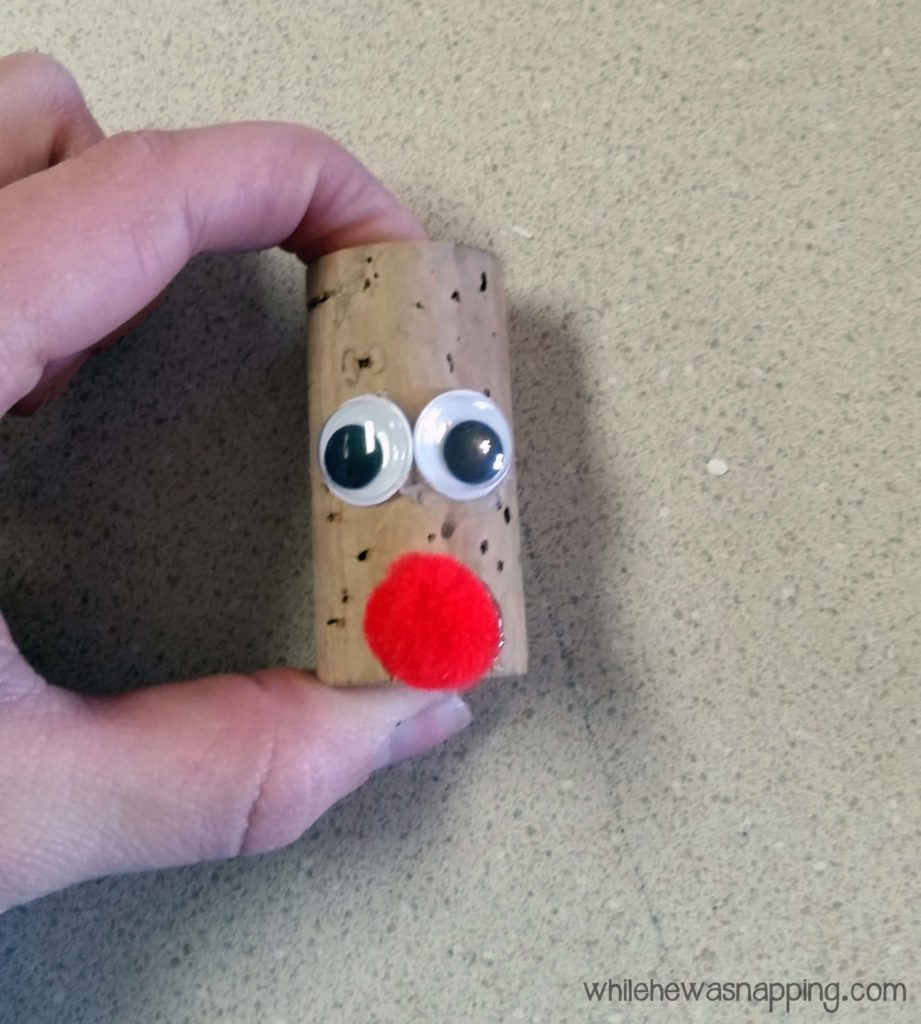 Cork Reindeer Ornament glue on nose