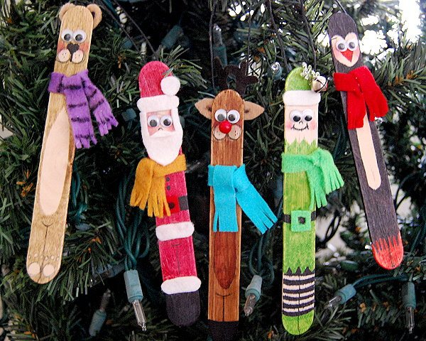 Santa & Friends Craft Stick Ornaments found on Creative Me Inspired You