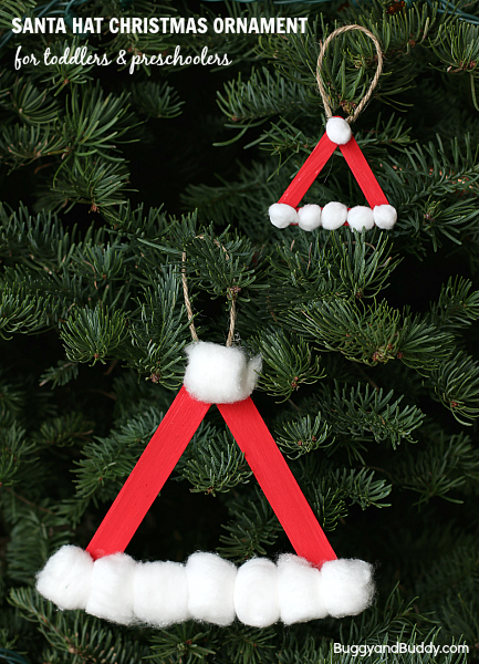 Santa Hat Craft Stick Ornament found on Buggy and Buddy