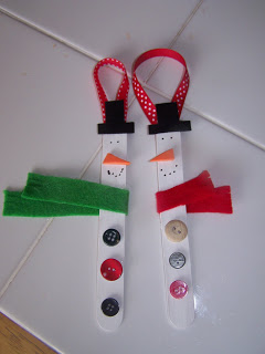 Snowman Craft Stick Ornament found on A Day of Wonders